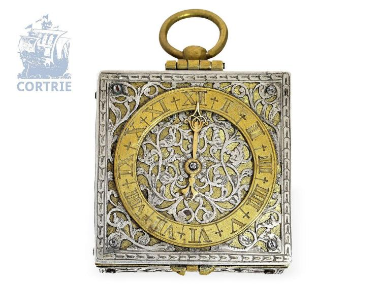 Pocket watch/pendant watch: very rare square pendant watch, Renaissance style, signed Johann Sigmund Schloer Regensburg, probably ca. 1730 (NO LIVE FEE)