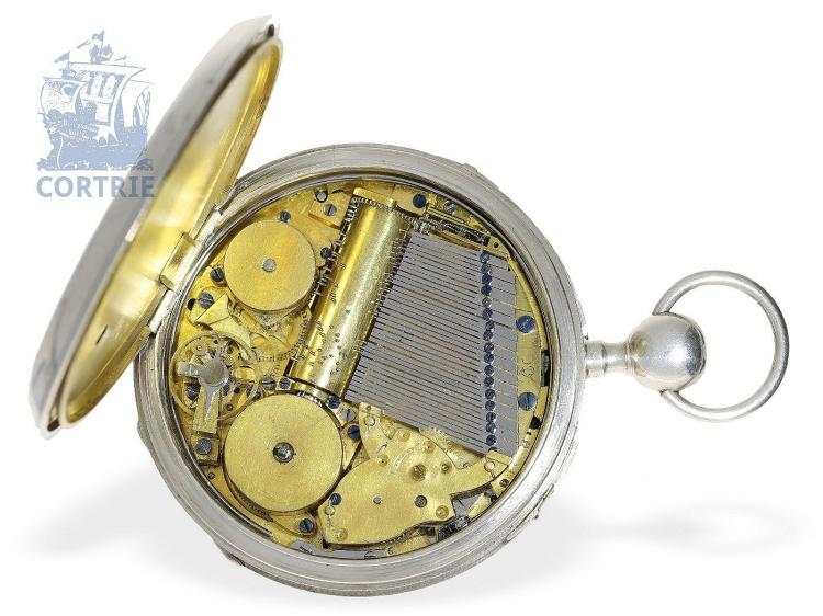 Pocket watch: very big pocket watch repeater, rare virgule escapement, music movement with music cylinder, probably Geneva ca. 1820 (NO LIVE FEE)