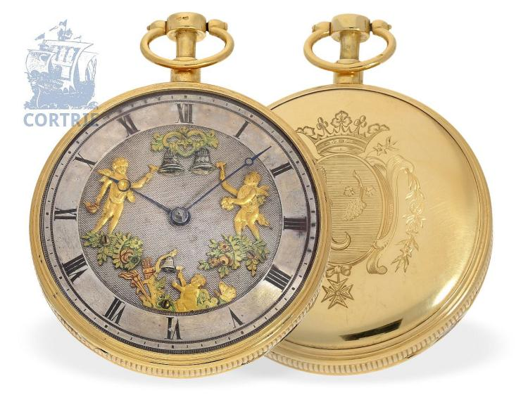 Pocket watch: very fine figured automaton Jaquemart with carillon striking, Le Roy Paris no.7646, ca. 1815, formerly French nobleman's possession (NO LIVE FEE)