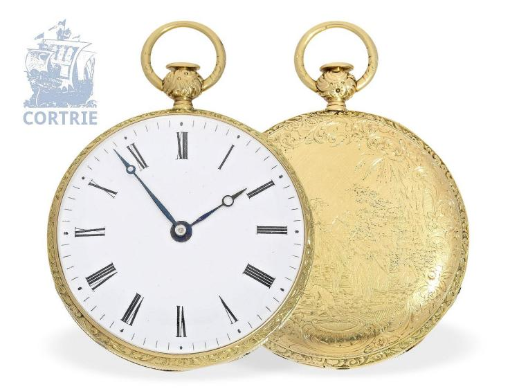 Pocket watch: important and technical interesting pocket watch repeater with Grande & Petite Sonnerie, Sandoz Hermanos ca.1840 (NO LIVE FEE)
