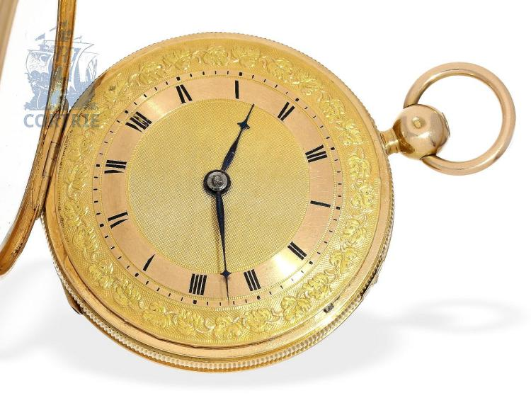 Pocket watch: very fine 'Clockwatch' verge watch repeater with half hours self-striking, probably Switzerland ca. 1800 (NO LIVE FEE)