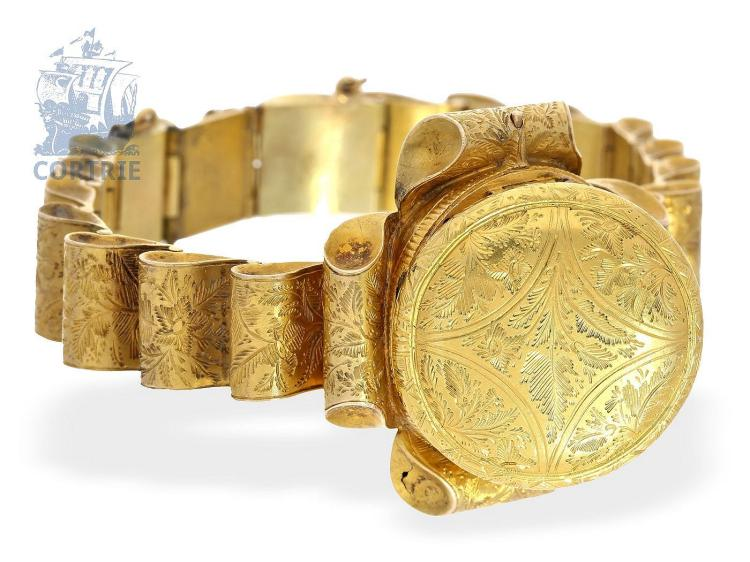 Wristwatch: rare wristwatch, one of the earliest noted wristwatches with verge escapement, probably Geneva ca. 1800 (NO LIVE FEE)