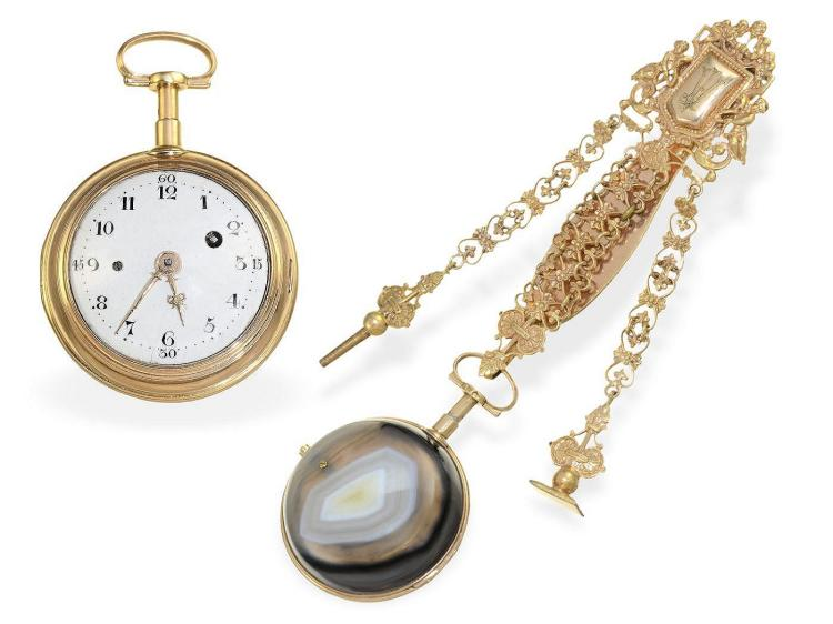 Pocket watch: rare and very high-grade gold/agate stone repeater with chatelaine, France ca. 1770 (NO LIVE FEE)