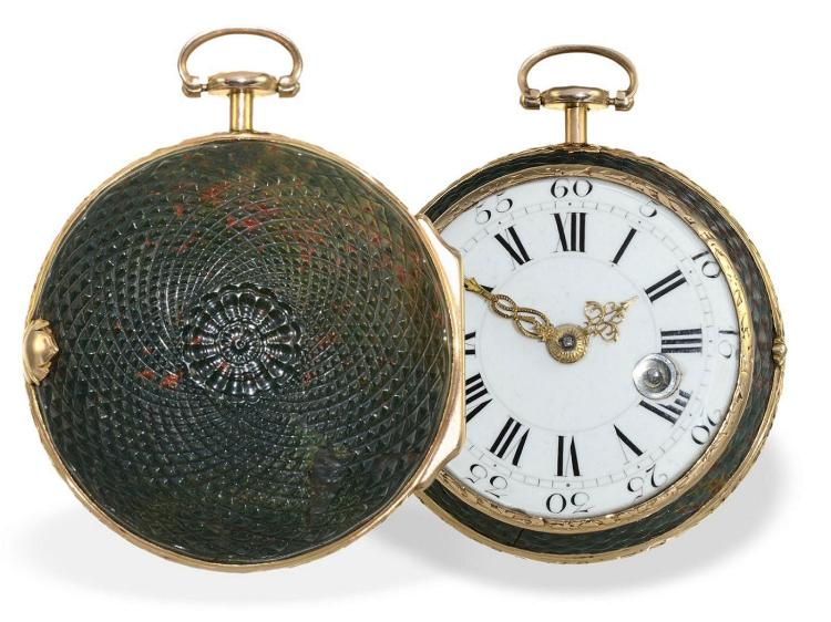 Pocket watch: extremely rare verge watch with engine turned stonecase, pink gold, France ca. 1750/1760 (NO LIVE FEE)