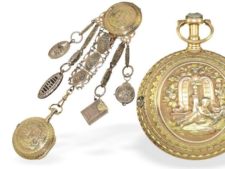Pocket watch: rare multicoloured gold verge watch repeater with original gold chatelaine, France ca. 1760 (NO LIVE FEE)