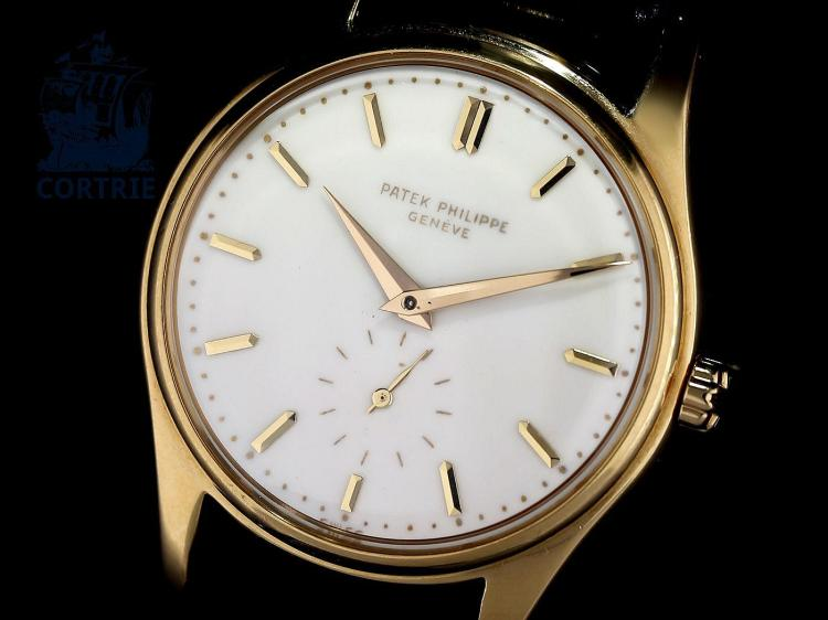 Wristwatch: Patek Philippe rarity, ref. 2526, first automatic movement by Patek Philippe, 1956 with enamel dial, revision 2016, top condition with box (NO LIVE FEE)