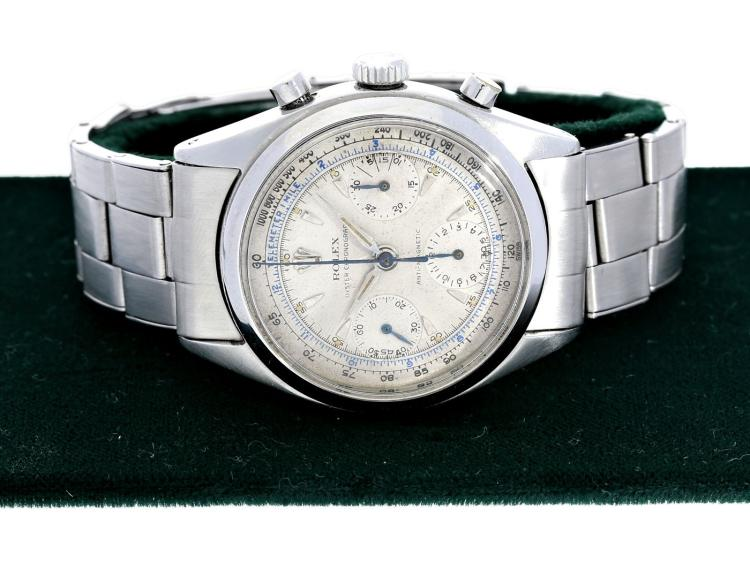 Wristwatch: popular vintage Rolex chronograph, stainless steel, Rolex Oyster Antimagnetic ref.6234 Pré-Daytona, from the 1950s, with original box (NO LIVE FEE)