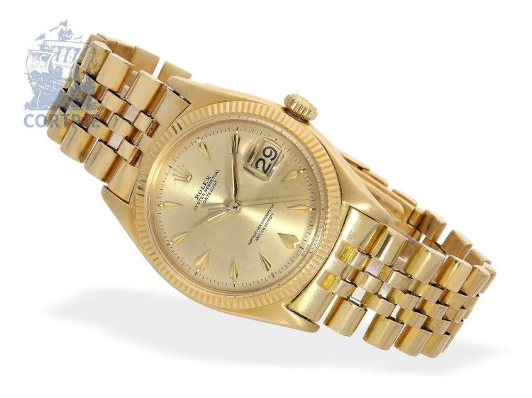 Wristwatch: gold gentlemen's watch Rolex Datejust ref.6605 from 1958 (NO LIVE FEE)