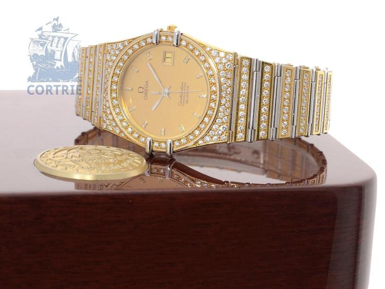 Wristwatch: probably unique and special model of Omega Constellation Chronometer, 18K gold/white gold, original diamonds (NO LIVE FEE)