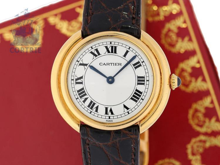 "Wristwatch: rare vintage ladies watch/gentlemen's watch Cartier 'Ceinture Ronde"" with Cartier felt-clasp and original box, from the 60s (NO LIVE FEE)"