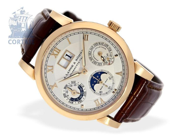 Wristwatch: very fine A.Lange & Söhne 'Langematic Perpetual Calendar', pink gold, ref. 310.032, Lange & Söhne watch box with watch winder, all certificates (NO LIVE FEE)