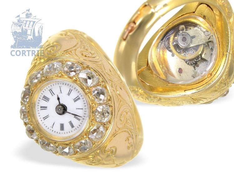 Ring watch: rare and solid gold ring watch with high-grade diamond bezel, signed Hamilton Calcutta, with original box, ca. 1870 (NO LIVE FEE)