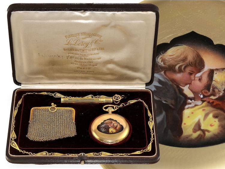 Pocket watch: rare gold/enamel pocket watch with rare dial, 2 enamel paintings, original box with watch chain, gold wallet and gold pencil holder, Leroy, probably made for a nobleman, ca. 1900 (NO LIVE FEE)