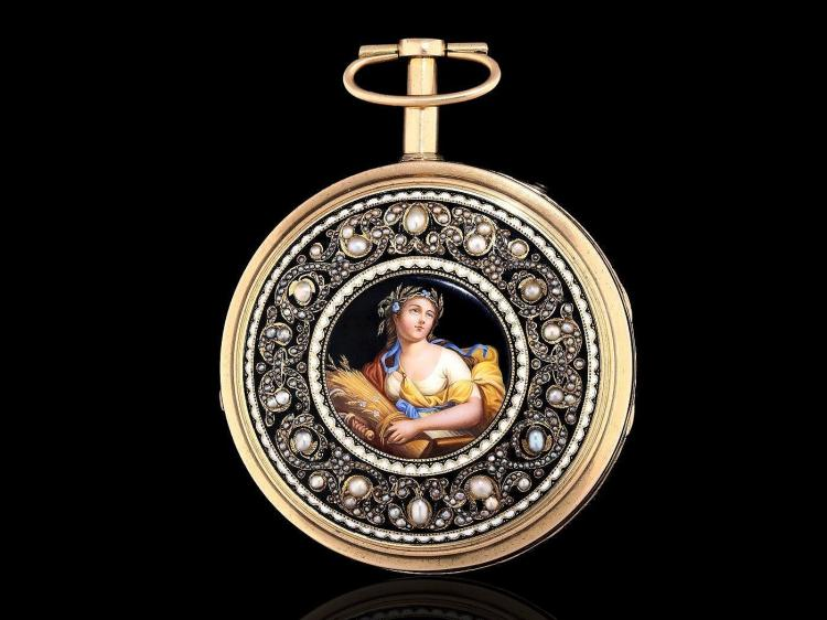 Pocket watch: important, big and unique enamel repeater with pearls, Grande Sonnerie, Decombaz Geneve for Chinese market, ca. 1800 (NO LIVE FEE)