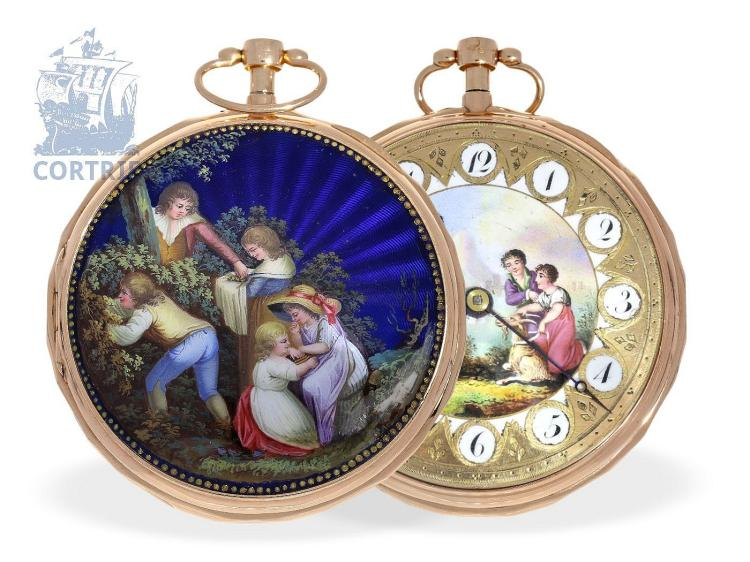 Pocket watch: very beautiful and big 20K gold/enamel verge watch repeater, probably Meuron et Companie, Geneva and Paris, ca. 1800 (NO LIVE FEE)