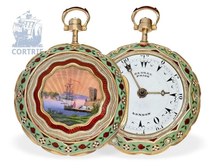 Pocket watch: exquisite gold/enamel verge watch repeater with diamonds, George Prior for the Ottoman market, ca. 1815 (NO LIVE FEE)