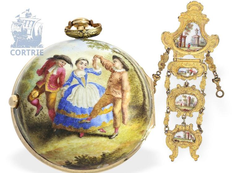 Pocket watch: rare rococo gold/enamel verge watch with corresponding chatelaine, Berthoud Paris, ca. 1770 (NO LIVE FEE)
