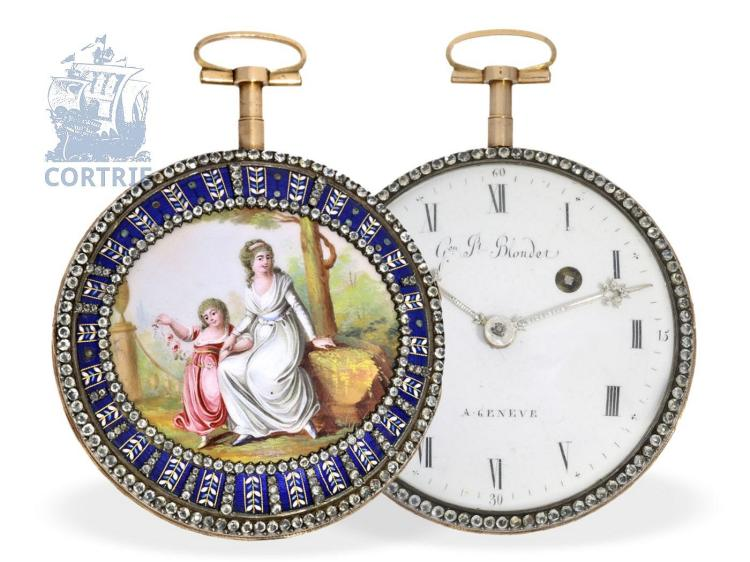 Pocket watch: exquisite and big gold/enamel verge watch, excellent quality, signed Blondel Geneva, ca. 1800 (NO LIVE FEE)