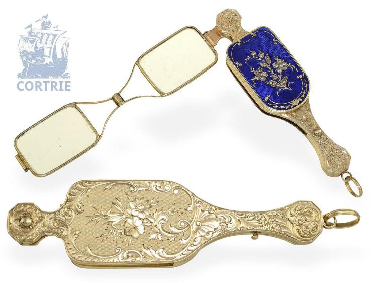 Pendant watch/form watch: very fine Geneva gold/enamel Lorgnette with diamonds and hidden watch, probably Bautte Geneve ca. 1830 (NO LIVE FEE)
