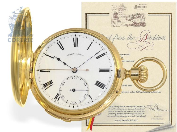 Pocket watch: extremely rare Patek Philippe half hunting case watch with 2 complications, minute repeater & Seconde Morte, Geneva 1881, with Patek Philippe extract of the archives (NO LIVE FEE)