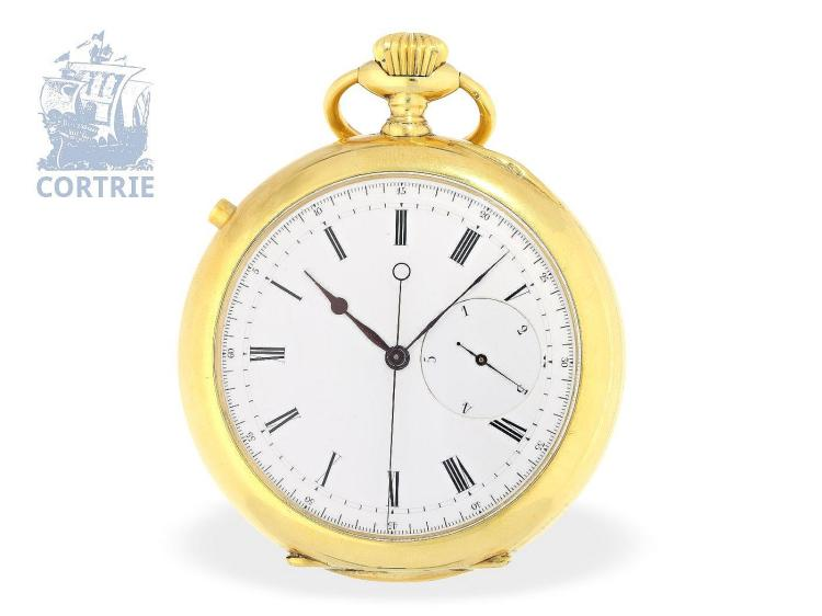 Pocket watch: important and extremely rare Patek Philippe 'INDEPENDENT SWEEP SECONDS WITH 1/5TH SECOND DIABLOTINE', Patek Philippe & Cie, Genève 1868 (NO LIVE FEE)