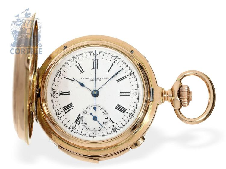 Pocket watch: very complex and very fine Patek Philippe no. 65535, minute repeater with chronograph, Geneva ca. 1880 (NO LIVE FEE)