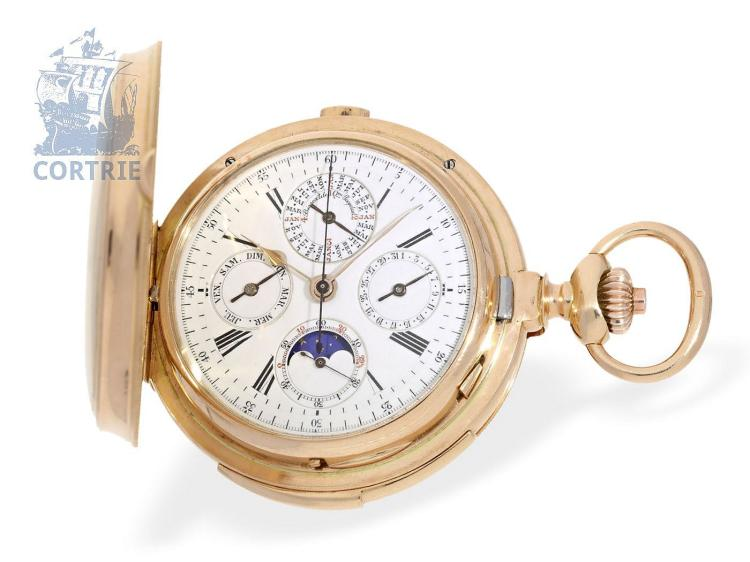 Pocket watch: very heavy astronomical hunting case watch with 8 complications, attributed to Mons B. Poitevin & V. Lejeune, L. Gironde Succr., 22 Rue Vivienne, Paris ca. 1895 (NO LIVE FEE)