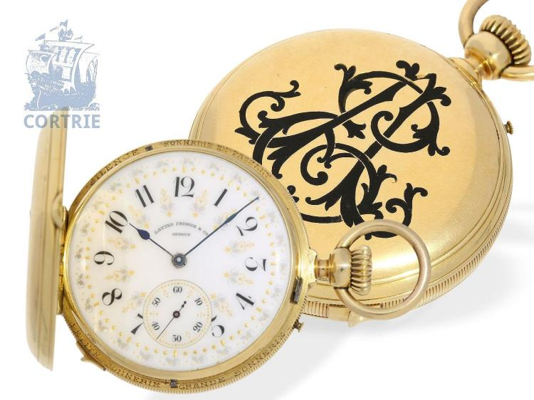 Pocket watch: exquisite gold/enamel pocket watch repeater with Grande & Petite Sonnerie, Golay Geneve no.8841, ca. 1880 (NO LIVE FEE)