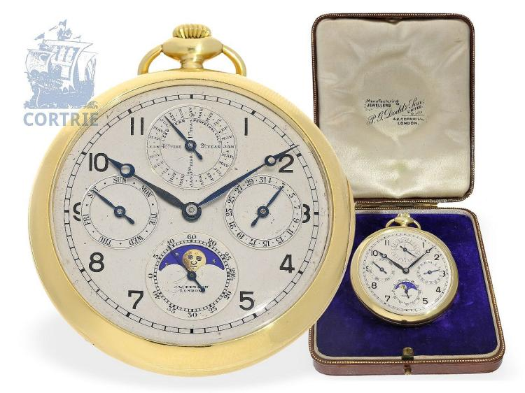 Pocket watch: extremely rare astronomical pocket watch with perpetual calendar, Royal watchmaker J.W.Benson London, 1929 (NO LIVE FEE)