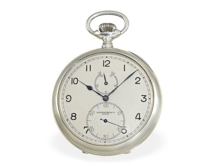 Pocket watch: big Geneva deck watch with power reserve indication, Vacheron & Constantin Geneve 1942 (NO LIVE FEE)
