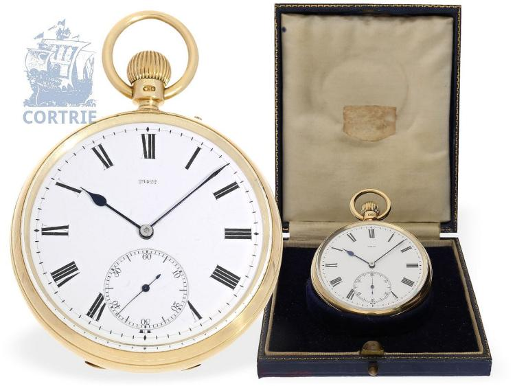 Pocket watch: very heavy English deck watch chronometer with carousel, Bahne Bonniksen, no. 29422 for Charles Freeman London, 1898, with Bahne Bonniksen patent punch (BB 21421) (NO LIVE FEE)