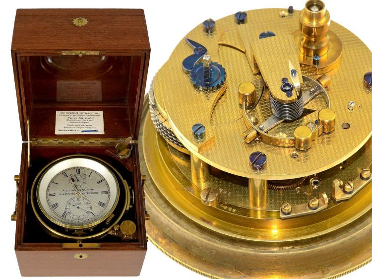 Marine deck watch/box chronometer: very interesting and very early A.Lange & Söhne marine deck watch no.488, ready for electrical impulse device, Glashütte 1923 (NO LIVE FEE)