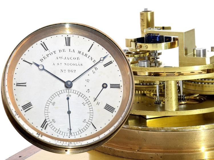 Marine deck watch/box Chronometer: extremely rare, very early and small chronometer, Breguet's trainee Amé Jacob (Jacob, Jean-Aimé), Élève de Breguet, ca.1830 (NO LIVE FEE)