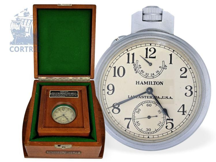 Pocket watch/marine deck watch: rare deck watch chronometer of the U.S. Navy, Hamilton model 22, with 2 original boxes, ca. 1942 (NO LIVE FEE)