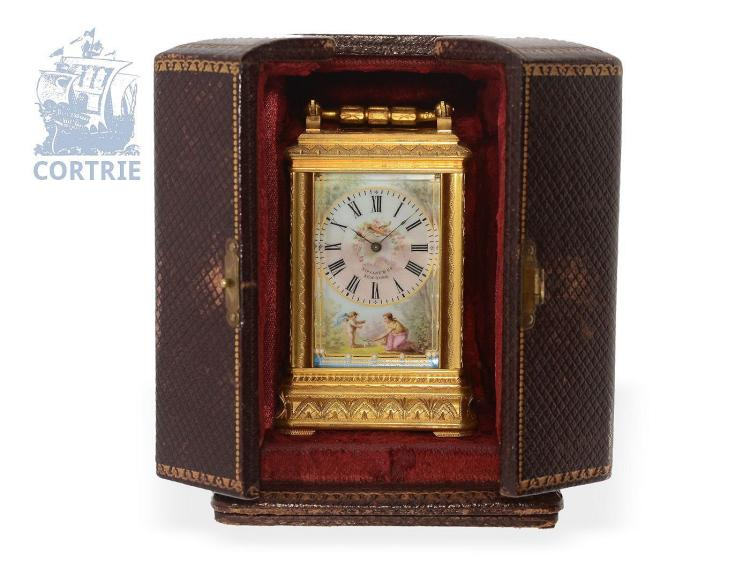 Travel clock: very fine Tiffany & Co. miniature travel clock, finest porcelain painting, original box, ca. 1900 (NO LIVE FEE)