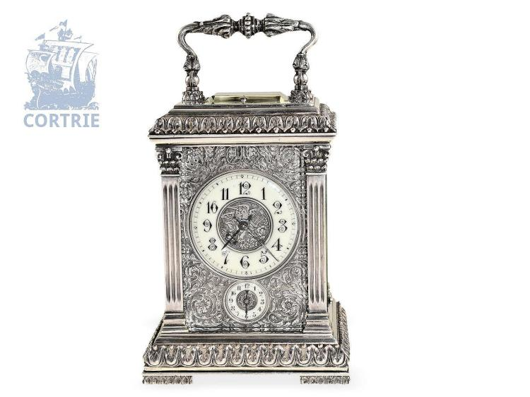 Travel clock: very fine and very decorative silver plated Renaissance style travel clock repeater with Grande/ Petite Sonnerie, alarm, Paul Garnier Paris, ca. 1870 (NO LIVE FEE)