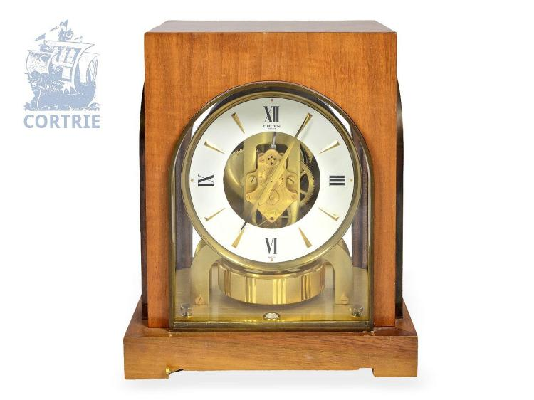 Table clock: rare Jaeger Le Coultre Atmos with wood case 'COSMOS', made for GRUEN GUILD WATCH COMPANY (NO LIVE FEE)