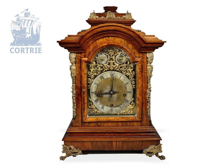 Table clock: big and splendid bracket clock with Westminster striking, 19th century (NO LIVE FEE)