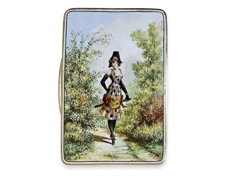 Snuffbox: high-grade gold/enamel snuffbox, high quality, probably Vienna 2nd half of 19th century (NO LIVE FEE)