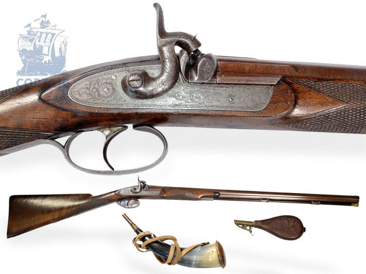 Historic weapon: fine English gun, ca. 1830, with accessories (NO LIVE FEE)