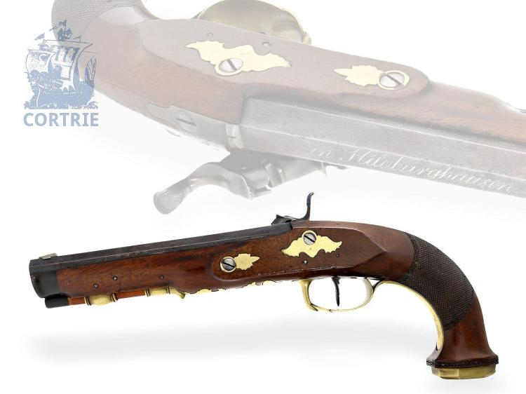 Historical weapon: very fine percussion pistol with accessories, M.A Gmeiner a Hildburghausen, ca. 1820/30 (NO LIVE FEE)