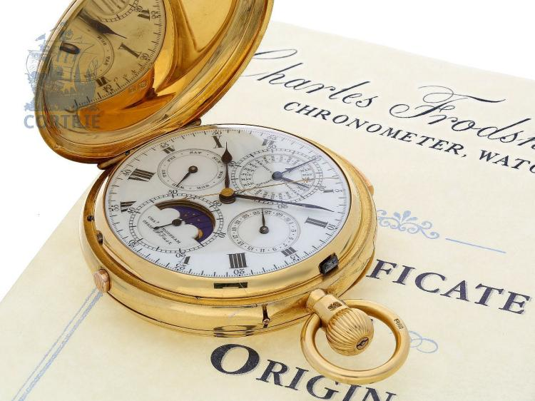 Pocket watch: important and extremely rare astronomical hunting case watch with 8 complications, Charles Frodsham no. 8459, prime quality AD.Fmsz, ca. 1895, with Frodsham certificate (NO LIVE FEE)