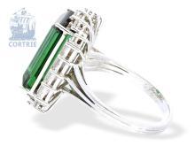 Ring: vintage Turmalinring der Spitzenklasse, Turmalin von 7,5ct sowie 1ct Diamanten River/Lupenrein, neuwertig