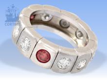 Ring: ehemals sehr teurer Brillant-Memoirering aus Platin, weiße und pinke Brillanten, zusammen ca. 3,5ct