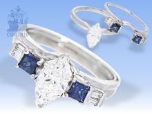 Ring: außergewöhnlicher Goldschmiedering, Kombinationsring, hochfeiner Marquise-Diamant von 1ct mit Zertifikat