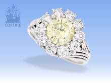 Ring: hochwertiger Platin/Brillant-Ring mit seltenem Farbbrillant, 1,81ct natural fancy yellow, umrandet von Wesselton Brillanten, inklusive IGI-Zertifikat