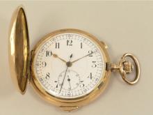 Taschenuhr: schwere Goldsavonnette mit Repetition und Chronograph, Schweiz um 1900, Marke Invicta