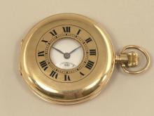 Taschenuhr: englische Halbsavonnette, um 1925, Gold
