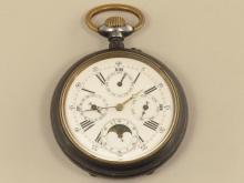 Taschenuhr: große eiserne, astronomische Taschenuhr mit Vollkalender und Mondphase, um 1900