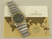 Armbanduhr: edle vintage Herrenuhr Omega Constellation in Edelstahl/Gold mit Originalpapieren von 1974